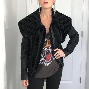 Free People Velvet & Vegan Leather Jacket